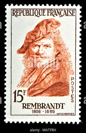 French postage stamp (1957) : Rembrandt Harmenszoon van Rijn (1606 - 1669) Dutch draughtsman, painter, and printmaker. - Stock Photo