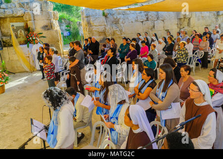 EMMAUS, ISRAEL - APRIL 2, 2018: Easter Monday Solemn Mass at the basilica of Emmaus-Nicopolis, with the Nuns and prayers, Israel. Commemorating Jesus  - Stock Photo
