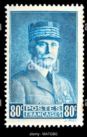 French postage stamp (1941) : Marshal Henri Philippe Benoni Omer Joseph Pétain (1856 – 1951) Maréchal Pétain. Prime Minister during WW2 and convicted  - Stock Photo
