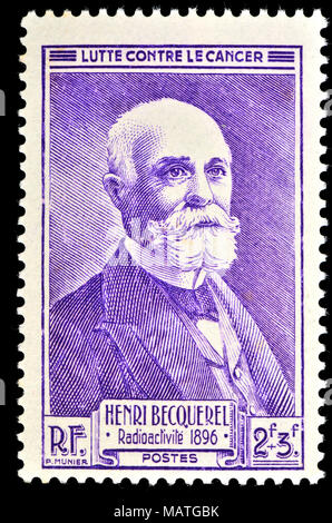 French postage stamp (1946) : Antoine Henri Becquerel (1852 – 1908) French physicist, Nobel laureate (joint with Marie and Pierre Curie, 1903) and the - Stock Photo