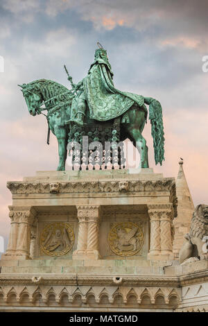 Statue of King Stephen sited near the Fishermens Bastion at the centre of the Var area of Buda, Budapest, Hungary. - Stock Photo