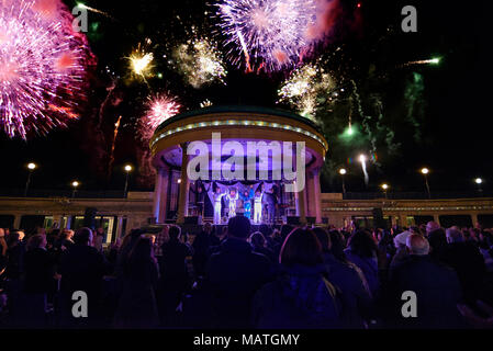 Abba tribute act at the bandstand, Eastbourne, East Sussex, England, UK - Stock Photo