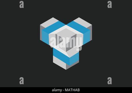 cube 3D logo design - Stock Photo