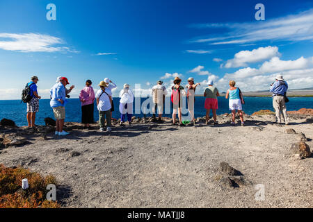 Isla Plaza Sur, Galapagos, Ecuador, February 5, 2017: A group of tourists enjoy the views of the sea from the high coast at Plaza Sur, Galapagos Islan - Stock Photo