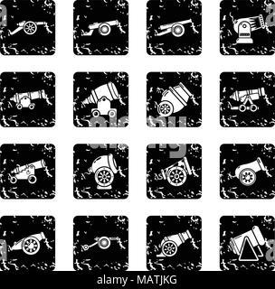 Cannon retro icons set grunge vector - Stock Photo
