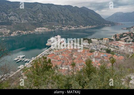 Viking Star docked at Kotor Montenegro - Stock Photo
