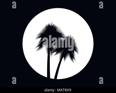 Two palm trees on the background of the full moon, black and white logo. Tropical trees. Vector illustration - Stock Photo