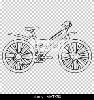 Outline figure bicycle half-face on transparent background, vector contour black and white line drawing, stencil, monochrome picture, bike sketch, silhouette, coloring book - Stock Photo
