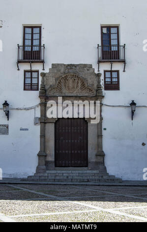 Facade with window and balconies of the palace of the Count of Montalban in the Puebla de Montalban, privincia of Toledo. Castilla la Mancha. Spain. - Stock Photo