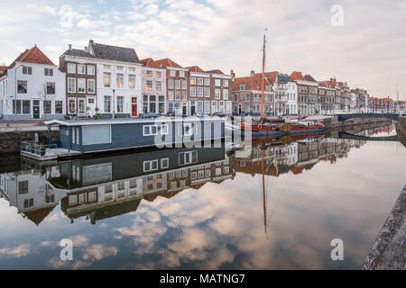 Sunset over the canal in Middelburg, the Netherlands. - Stock Photo