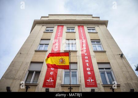 BELGRADE, SERBIA - MARCH 31, 2018:  Logo of Cervantes Instute (Instituto Cervantes) on their Belgrade branch with a spanish flag. Instituto Cervantes  - Stock Photo