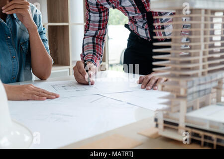 Architect Engineer Design Working on Blueprint Planning Concept. Construction Concept - Stock Photo