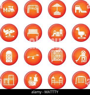 Playground equipment icons set red vector - Stock Photo