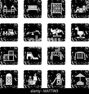 Playground equipment icons set grunge vector - Stock Photo