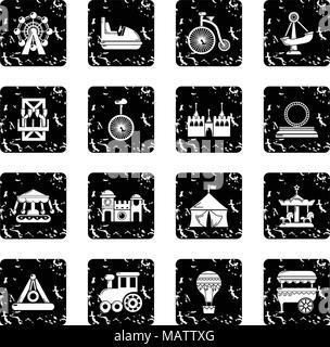 Amusement park icons set grunge vector - Stock Photo
