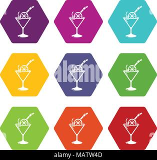 Cocktail icons set 9 vector - Stock Photo