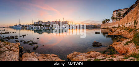 Evening view of Zea Marina in Athens, Greece. - Stock Photo