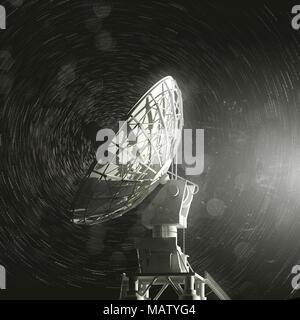 a single very large radio telescope pointing up towards the stars. 3D illustration - Stock Photo