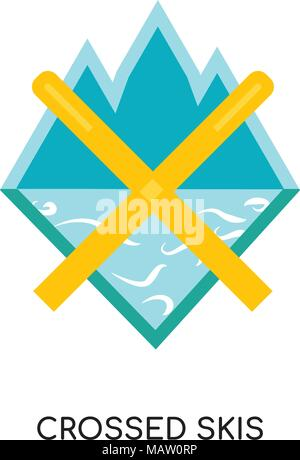 crossed skis logo isolated on white background for your web, mobile and app design - Stock Photo