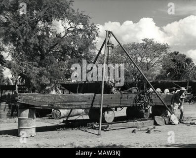 Proposed under water weed cutter under construction, Rhodesian Selection Trust, Kafue Pilot Polder, Zambia, South Rhodesia 1957 - Stock Photo