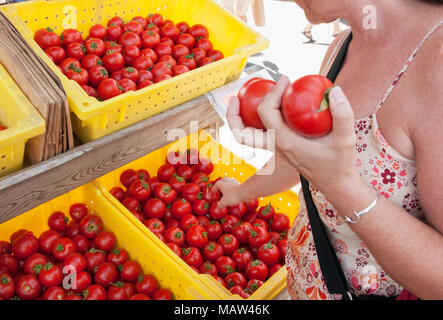 A woman shopping for tomatoes at a farmers market in Oregon. - Stock Photo
