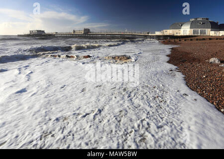 Storm over the Victorian Pier at Worthing town, West Sussex County, England, UK - Stock Photo
