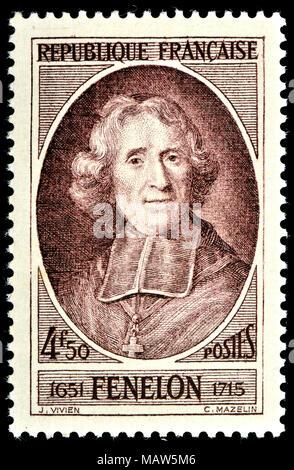 French postage stamp (1947) : François de Salignac de la Mothe-Fénelon / François Fénelon (1651 – 1715) French Roman Catholic archbishop, theologian,  - Stock Photo