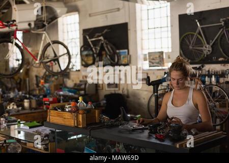 Female mechanic examining bicycle parts - Stock Photo