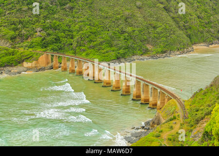 Aerial view of Kaaimans River Railway Bridge from popular Dolphin Point lookout on the Garden Route near Wilderness, Western Cape, South Africa.