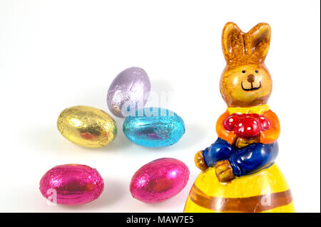 Easter symbols, easter eggs, chocolate egg decoration isolated on background,  Happy Easter - Stock Photo
