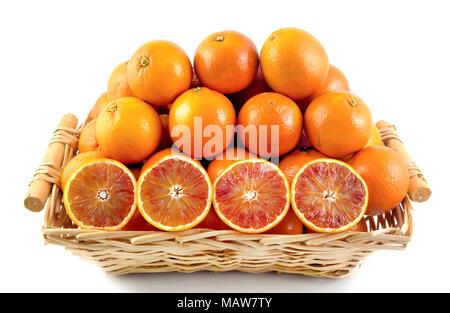 Fresh orange, organic ripe mandarins, sliced orange in wood basket on white background with clipping path. - Stock Photo