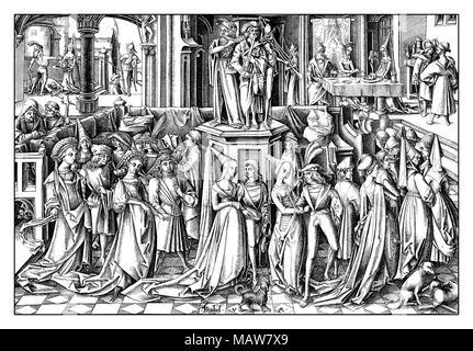 The Dance of the Daughters of Herodias, engraving by Israhel van Meckenem (1445 – 1503), year 1503 - Stock Photo