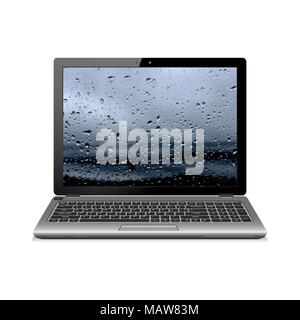 Notebook isolated on white with water drops wallpaper - Stock Photo