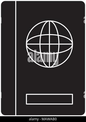 passport icon over white background, vector illustration - Stock Photo