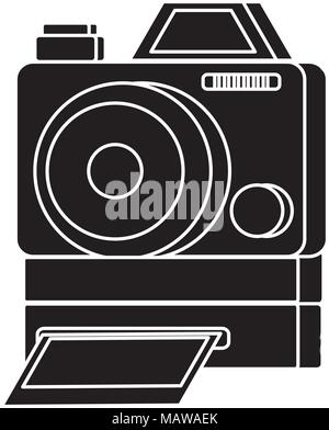Instant camera icon over white background, vector illustration - Stock Photo