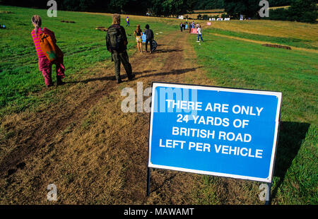 Environmental Information Sign, Art Bypass, Newbury Bypass Protest, Newbury, Isle of Wight, England, UK, GB. - Stock Photo