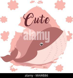 Whale cute animal cartoon - Stock Photo
