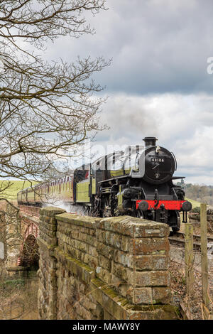 Front view of old, vintage SVR steam locomotive 43106 (LMS Ivatt Class 4) approaching, puffing smoke, travelling through scenic countryside in spring. - Stock Photo