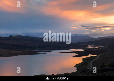 Loch Leathan at sunset on the Isle of Skye, Scotland - Stock Photo