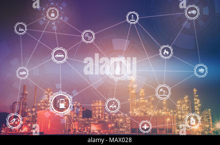 4.0 advanced industrial concept The industry has cyber icons and internet applications. Industrial equipment in factories with icons, networking, Inte - Stock Photo