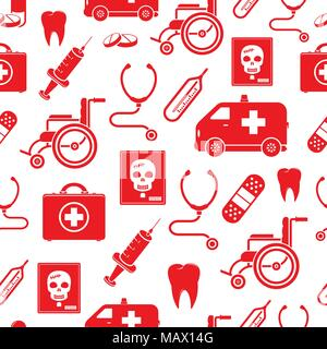 Medical seamless pattern in red color - Stock Photo
