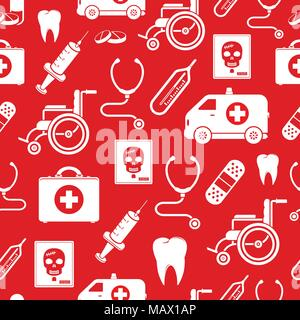Medicine vector seamless pattern in red color - Stock Photo