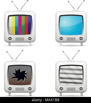 Vector TV icons with various screens - Stock Photo