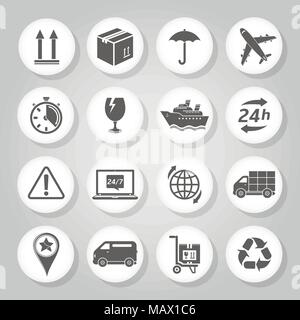 Logistics and delivery icons set - Stock Photo