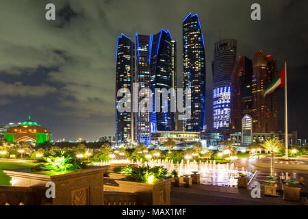 Abu Dhabi, UAE - Nov 26, 2015: The Skyscrapers Etihad Towers Illuminated At Night In The Capital City Of United Arab Emirates. Abu Dhabi, Night View - Stock Photo