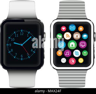 Modern smart watches with applications icons on screen isolated on white background - Stock Photo
