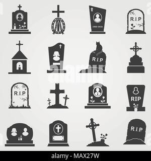 Cemetery crosses, tombstones and gravestones web icons set