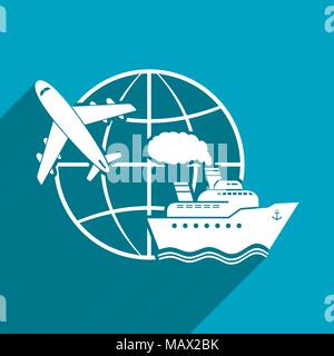 Around the world, flat vector illustration with long shadow - Stock Photo