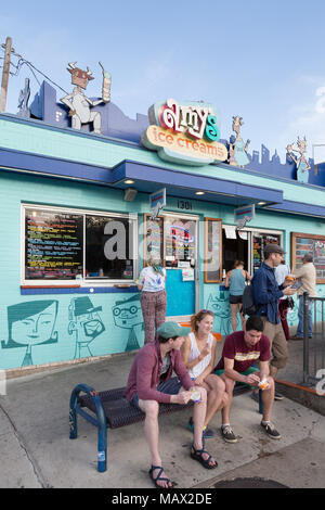 Amys Ice cream parlour, South Congress avenue, downtown Austin, Texas USA - Stock Photo