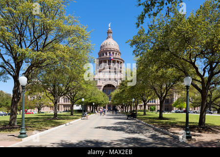 Texas State Capitol building on a sunny spring day, Austin Texas, United States of America - Stock Photo